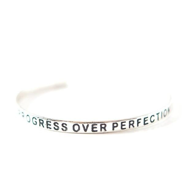 Progress Over Perfection Silver-plated Cuff