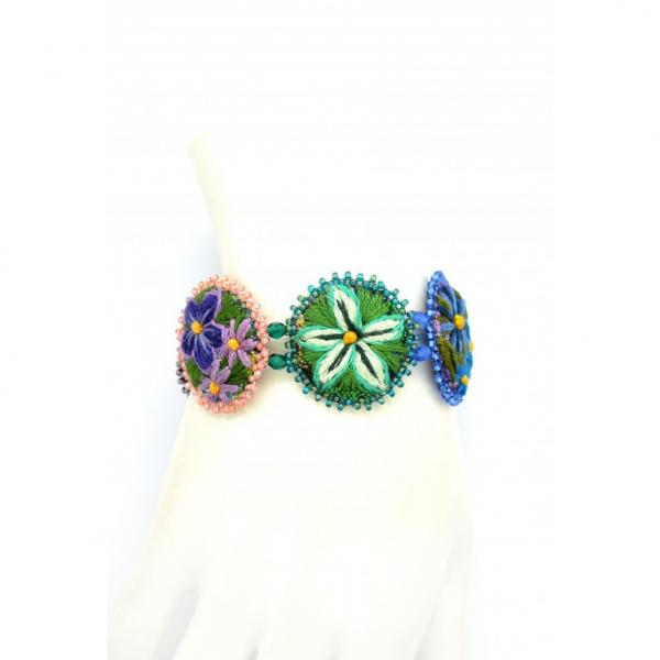 Five Rondelle Embroidered Bracelet