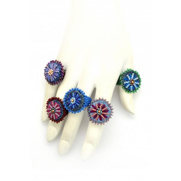 Embroidered Denim Daisy Ring