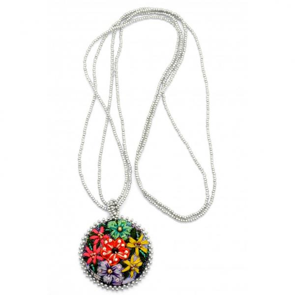 Embroidered Corte Flower Necklace