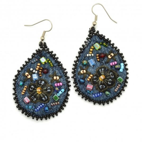 Embroidered Denim Frida Teardrop Earrings