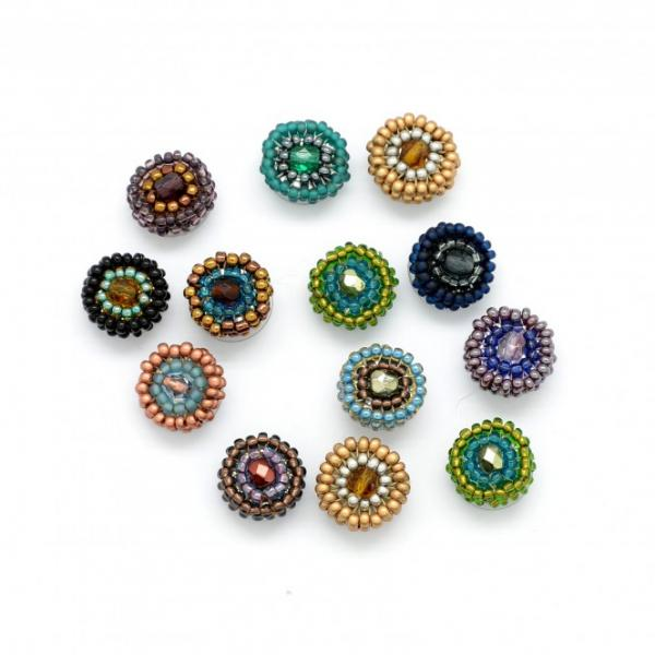 Beaded Rainbow Dots Stud Earrings