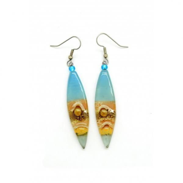 Long Almond Glass Earrings