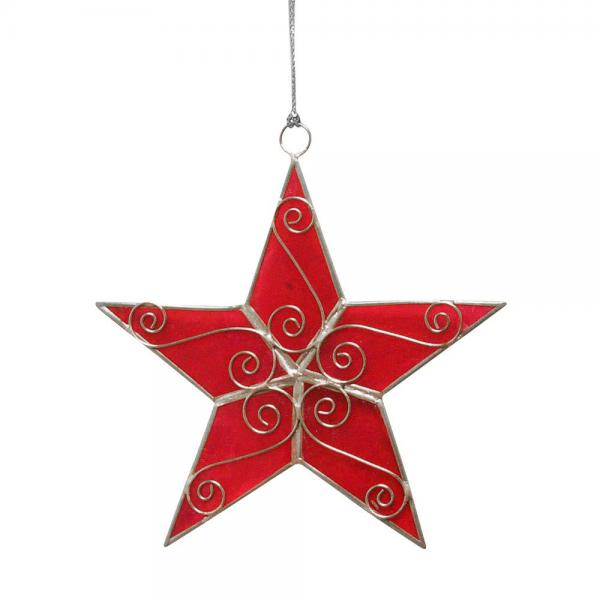 Red Capiz Star Ornament