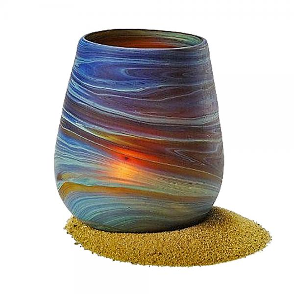 Phoenician Hand Blown Glass Votive Holder - 3.5""