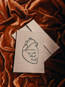 You warm my cold black heart card
