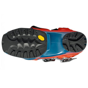orange and blue scarpa tx pro ntn telemark boot bottom view