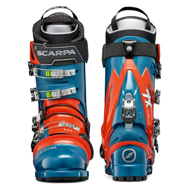 orange and blue scarpa tx pro ntn telemark boot double boot front back view