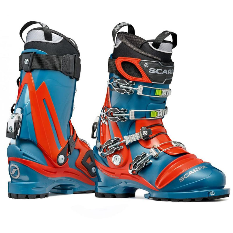 orange and blue scarpa tx pro ntn telemark boot double boot side view
