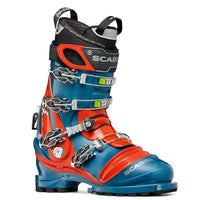 orange and blue scarpa tx pro ntn telemark boot askew side view