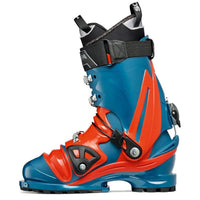 orange and blue scarpa tx pro ntn telemark boot medial side view