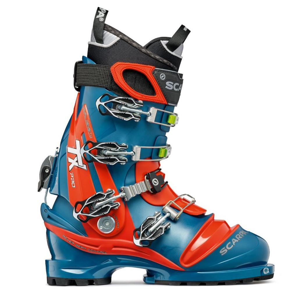 orange and blue scarpa tx pro ntn telemark boot side view