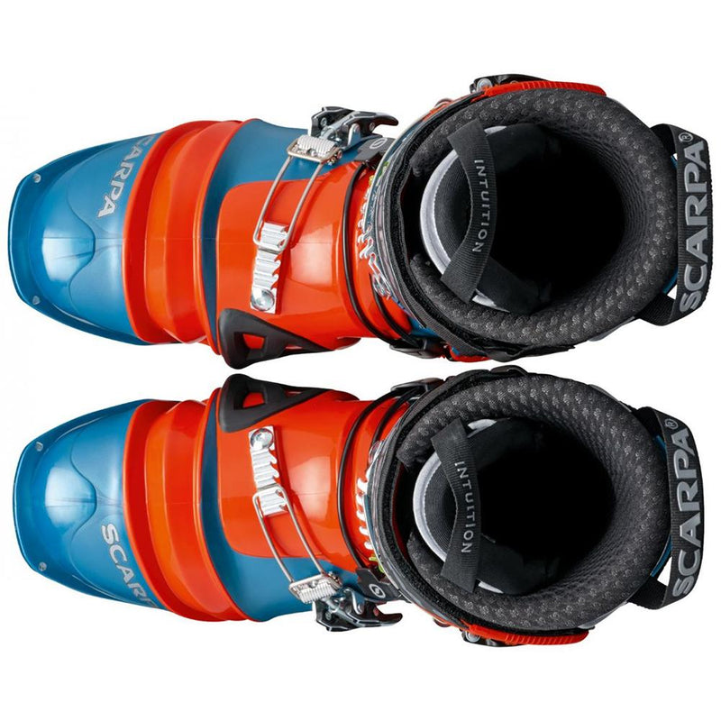 orange and blue scarpa tx pro ntn telemark boot top view