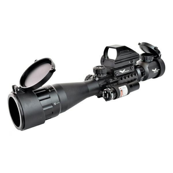 JS-TACTICAL COMBO 3X-9X ZOMM 40MM LENS SCOPE WITH RED DOT LASER