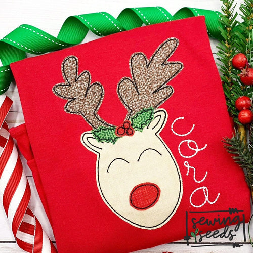 Christmas Reindeer GIRL Applique SS