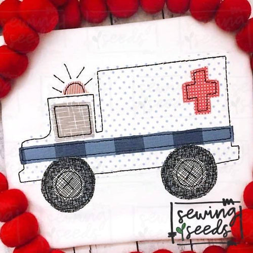 Ambulance Applique SS - Sewing Seeds