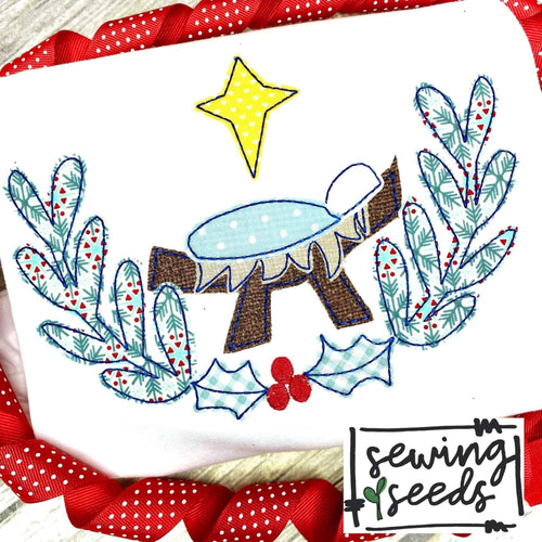 Baby Jesus Holly Wreath Applique SS - Sewing Seeds