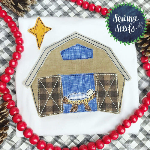 Barn Nativity Christmas Applique SS - Sewing Seeds