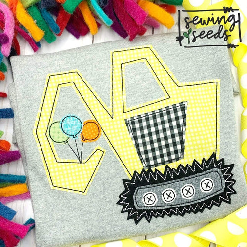 Birthday Excavator Applique SS - Sewing Seeds