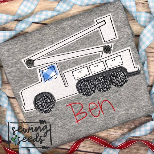 Bucket Utility Truck Applique SS - Sewing Seeds
