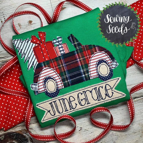 Christmas Car Applique SS - Sewing Seeds