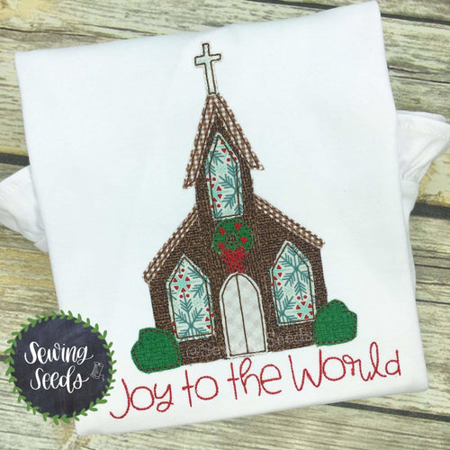 Christmas Church JOY to the World Applique SS - Sewing Seeds