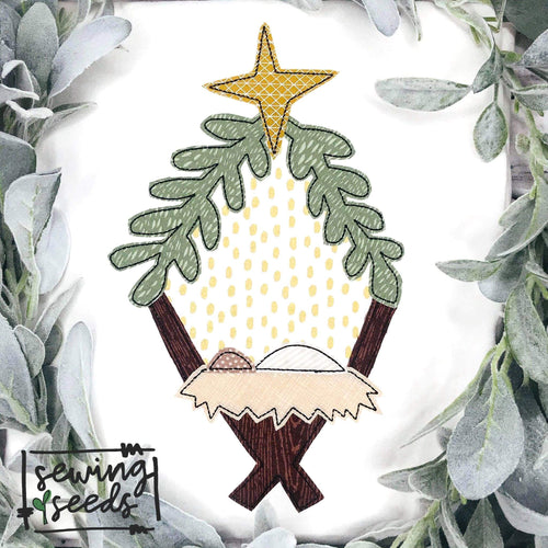 Christmas Nativity Wreath Manger Applique SS - Sewing Seeds