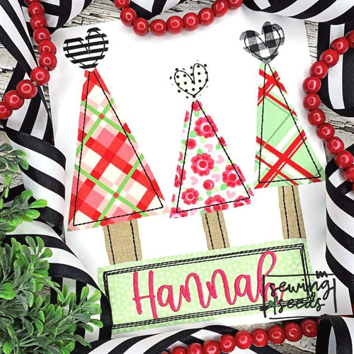Christmas Tree Heart Trio Applique SS - Sewing Seeds