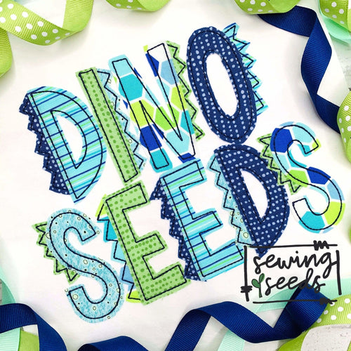 Dino Seeds Applique Font SS - Sewing Seeds