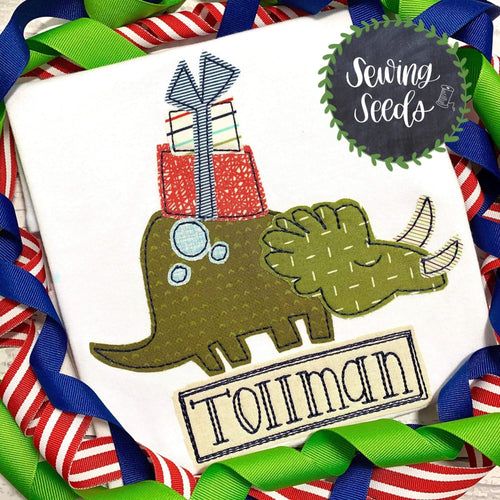 Dinosaur with Presents Christmas Birthday Applique SS - Sewing Seeds
