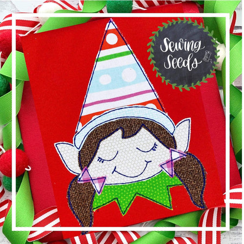Elf Girl Christmas Applique SS - Sewing Seeds