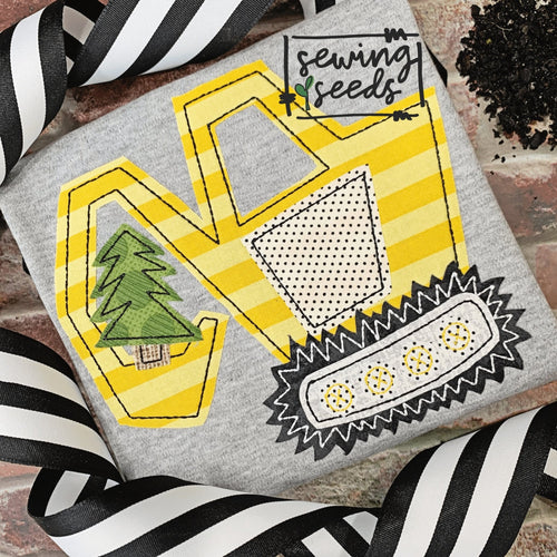 Excavator with Christmas Tree Applique SS - Sewing Seeds