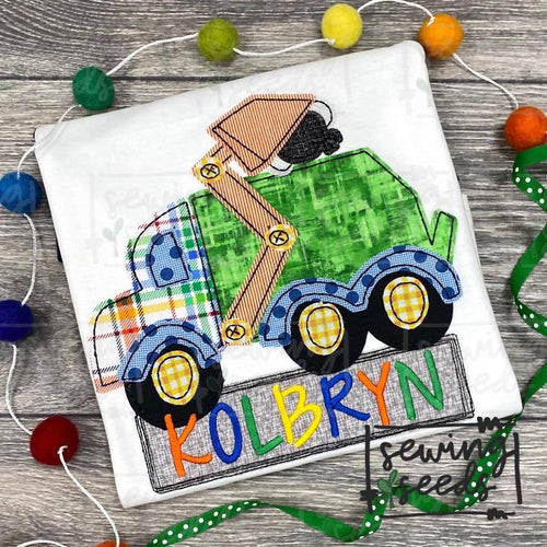 Garbage Truck Applique SS - Sewing Seeds