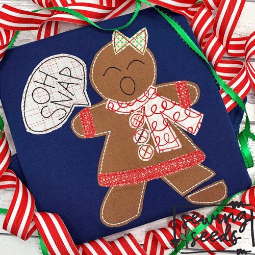 Gingerbread Girl Oh Snap! Applique SS - Sewing Seeds