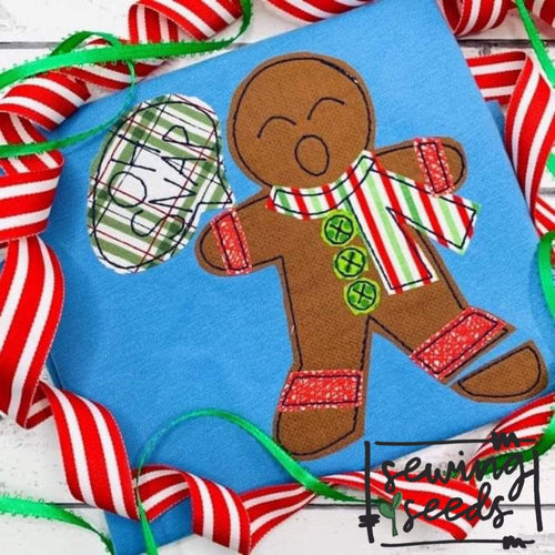 Gingerbread Man Oh Snap! Applique SS - Sewing Seeds