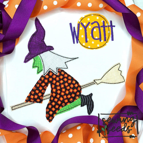 Halloween Witch Applique SS - Sewing Seeds