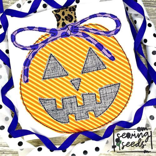 Jack o Lantern with Bow Pumpkin Applique SS - Sewing Seeds