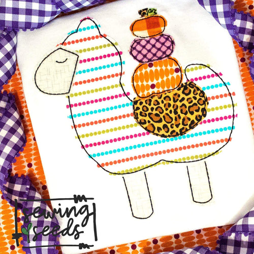 Llama with Pumpkins Applique SS - Sewing Seeds