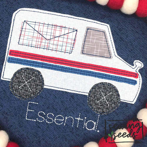 Mail Truck Applique SS - Sewing Seeds
