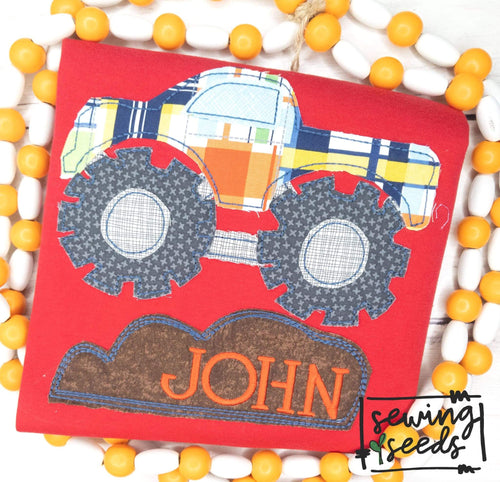 Monster Truck Applique SS - Sewing Seeds
