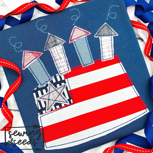 Patriotic 4th of July Flag Cake Applique SS - Sewing Seeds