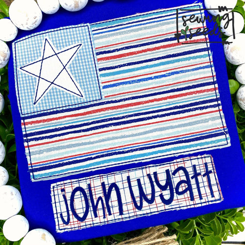 Patriotic Flag with Star and Name Tag Applique SS - Sewing Seeds