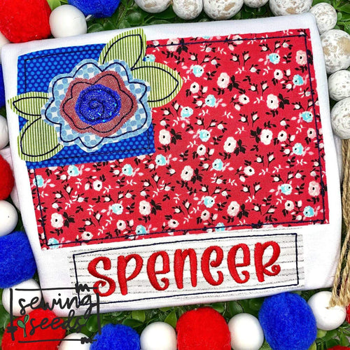 Patriotic Floral Flag with Name Tag Applique SS - Sewing Seeds