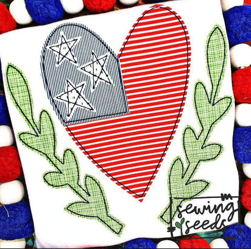 Patriotic Heart Flag with Wreath Applique SS - Sewing Seeds