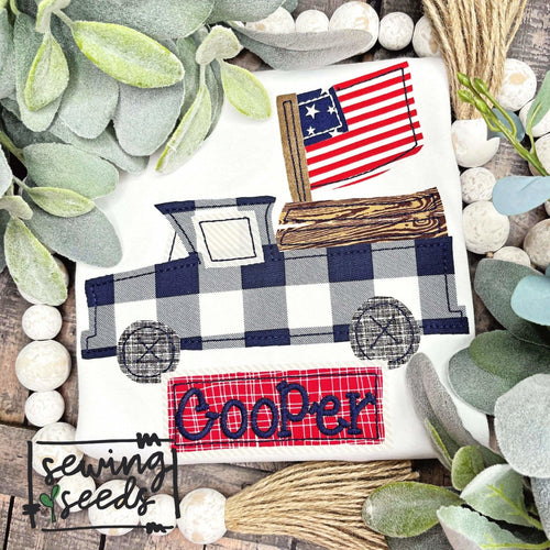 Patriotic Truck with Flag with Name Tag Applique SS - Sewing Seeds