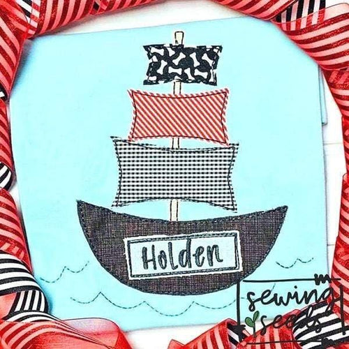 Pirate Ship Applique SS - Sewing Seeds