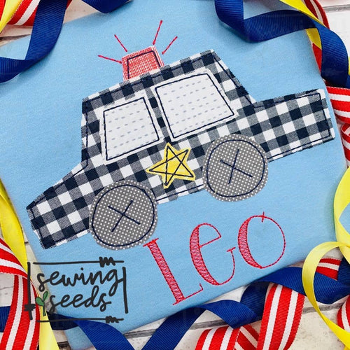 Police Car Applique SS - Sewing Seeds