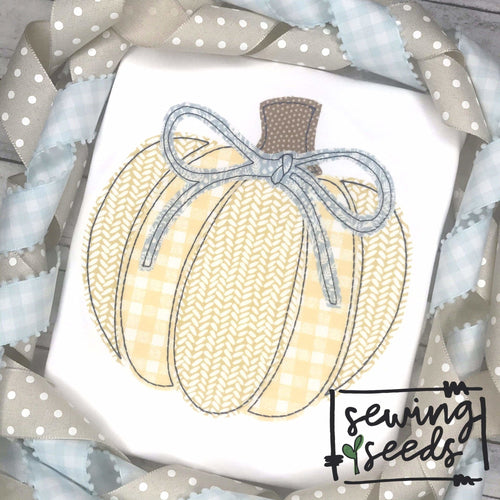 Pumpkin Pieces with Bow Applique SS - Sewing Seeds