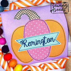 Pumpkin with Name Banner Applique SS - Sewing Seeds