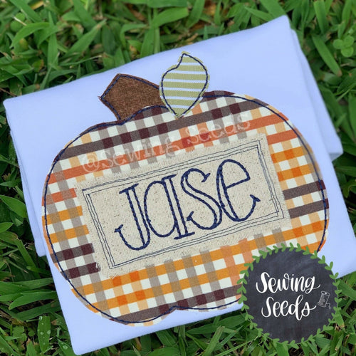 Pumpkin with Scribble Name Tag Applique SS - Sewing Seeds